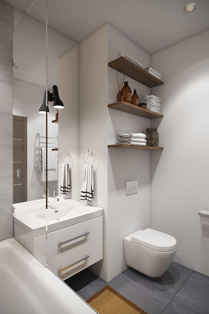 ванная в интерьере квартиры-студии 30 кв. м.