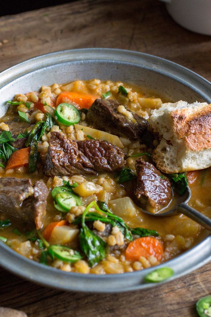 NYT Cooking: With a higher ratio of broth to barley than one usually sees, and the addition of plenty of fresh baby spinach, this beef barley soup is a littler lighter than most of its kind. However, it's still a substantial, satisfying meal that gets a heady aroma from spices (coriander, cumin and paprika) and a brightness from lemon. If you like your meals with a kick, top ...