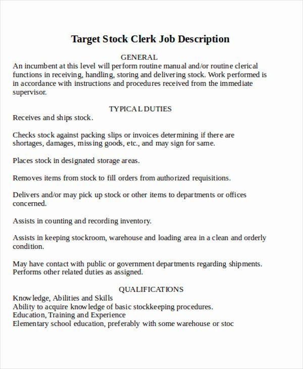Stocker Job Description Resume Beautiful Stock Clerk Job Description Sample 8 Examples In Word Pdf Job Description Job Resume Warehouse Jobs