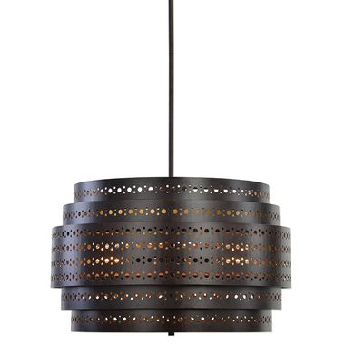 Featuring nested layers of circle punched pattern metal in a dark bronze finish, the Fuller three-light drum-style chandelier offers on-trend style for transitional room. The stem-hung lighting fixture includes three 60 watt ST58 decorative antique-style clear light bulbs and hanging rods.