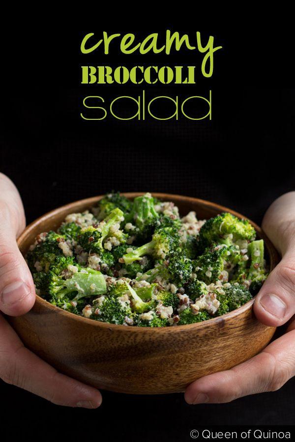 Creamy Vegan Broccoli & Quinoa Salad made with a quick cashew cream sauce