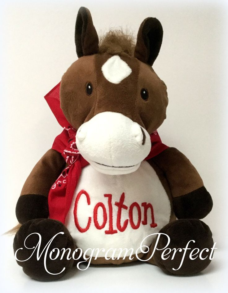 """Personalized 16"""" Plush Horse Stuffed Animal by MonogramPerfect on Etsy https://www.etsy.com/listing/454250536/personalized-16-plush-horse-stuffed"""