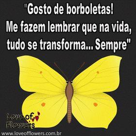 """""""Gosto de borboletas! Me fazem lembrar que na vida, tudo se transforma sempre"""""""