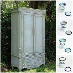 charming antique white wash furniture | This charming armoire received a soft finish using Chalk ...
