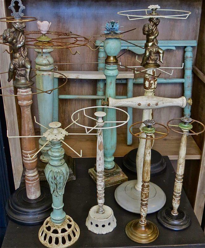 reused old lamps paper towel hangers jewelry hanger   – Jewelry