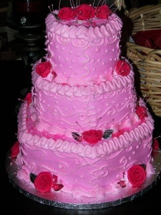 Pink Hexagon WeddingCake By Cicley on CakeCentral.com