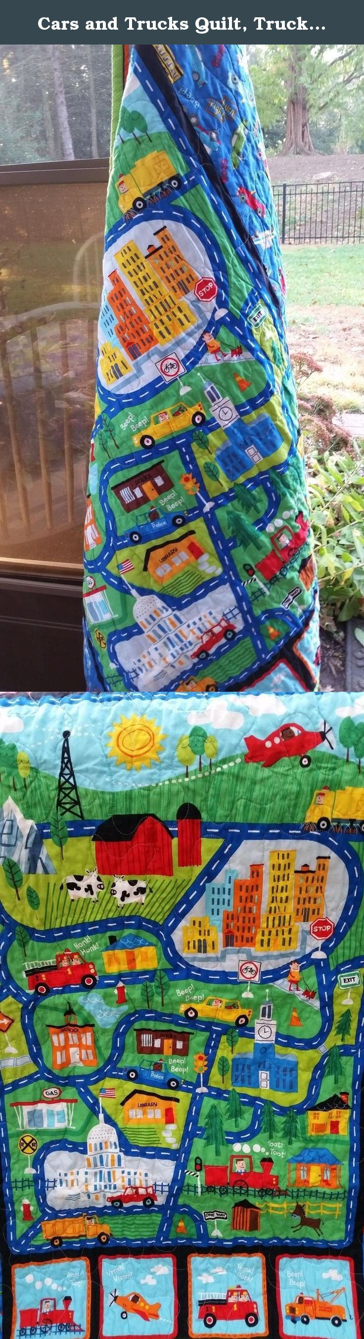 Cars and Trucks Quilt, Trucks and Cars Playmat, Trucks Crib Quilt, Vehicle Nursery, Vehicle Crib, Transportation Crib, Boy Crib Bedding, Airplane, Train, Vehicles, Car Toddler Birthday Present. THIS QUILT IS READY TO SEND AND I ONLY HAVE ONE SO WHEN IT IS SOLD - it is gone forever. This quilt was made in my home studio in Hershey, PA where you can smell chocolate being made every day. Perhaps that is why they call it the sweetest place on Earth. While this quilt will not look and/or taste...