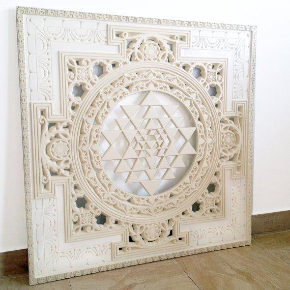 Sri Yantra Mandala. Sacred Geometry Art Wood Panel. Authentic Sri Yantra, spiritual heritage of India and Tibet. (3'x3'ft.)