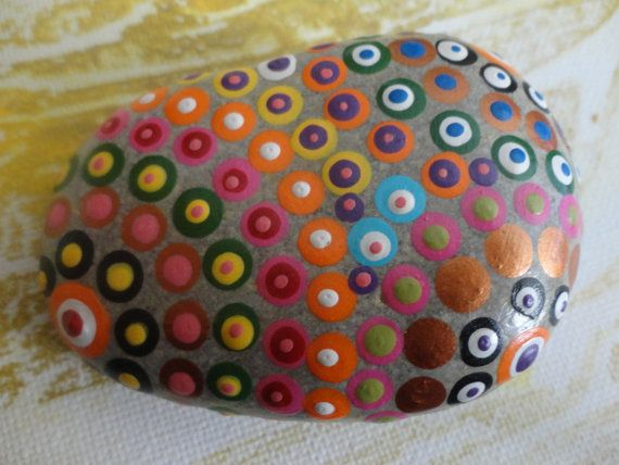 PAINTED BEACH STONE / Pebble Art / Dot Painted door NatureParadise