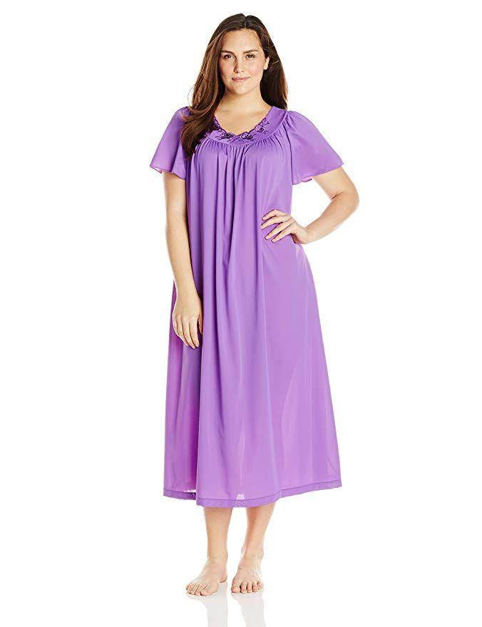 4ff8c3d03ea Shadowline Women s Plus-Size Petals 53 Inch Short Flutter Sleeve Long Gown  at Amazon Women s