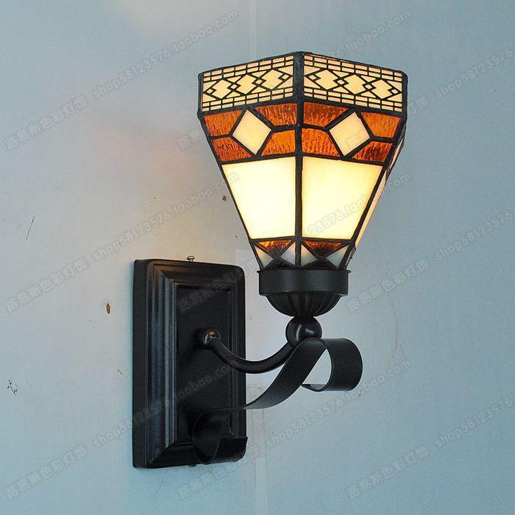 Rétro minimaliste petit mur miroir chevet verre éclairage Tiffany maille de cuivre balcon lampe européenne nostalgie(China (Mainland))