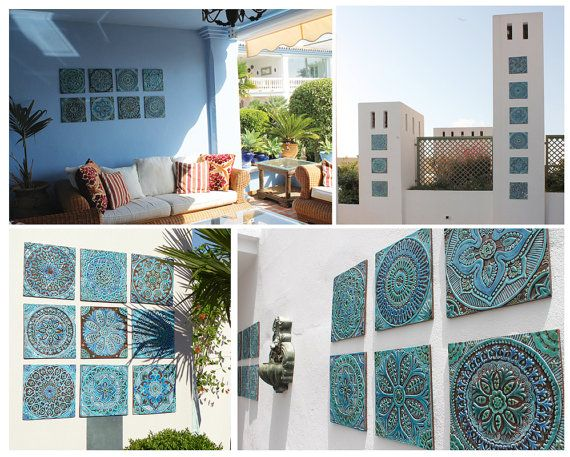 Set of 4 Moroccan decorative wall hangings made from ceramic - glazed in turquoise. [This listing has a 10% discount for ordering 4 tiles - normally 66€