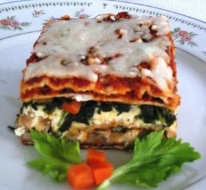 Matzah Lasagna for Passover.  I usually make this with a bechamel (white) sauce.