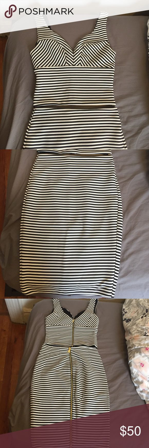 Guess two piece bodycon outfit - XS Size XS, fits true to size for Guess clothing, 96% polyester, 4% spandex, worn once then dry cleaned, bought full price at Bloomingdales, skirt hits at knee Guess Dresses Mini