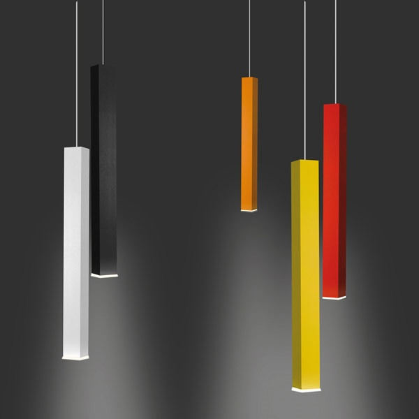 Designed by Studio 63 for Danese, the Miyako consists of a painted aluminium frame, with light sneaking out of the top and bottom via LED power.