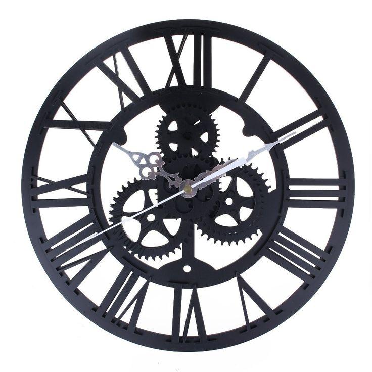 European Style Gear Wall Clock, Modern Home Decor Clock Large Round Metal Color Wall Vintage Steampunk Skeleton by Newpurslane (Black): Amazon.ca: Home & Kitchen