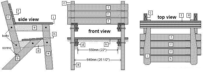 wooden garden chair sectional plans