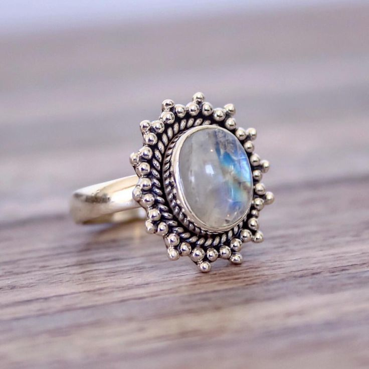 MOONSTONE || Sun Ring || Available in our 'Gems and Stones' Collection || www.indieandharper.com