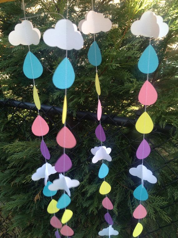 Sprinkle Party decoration Clouds and raindrops by ClassicBanners, $18.00 baby sprinkle party - raindrops and clouds decor - spring decor - bridal shower - april showers bring may flowers - gender neutral shower decoration