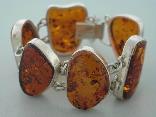 Sterling and Baltic amber bracelet