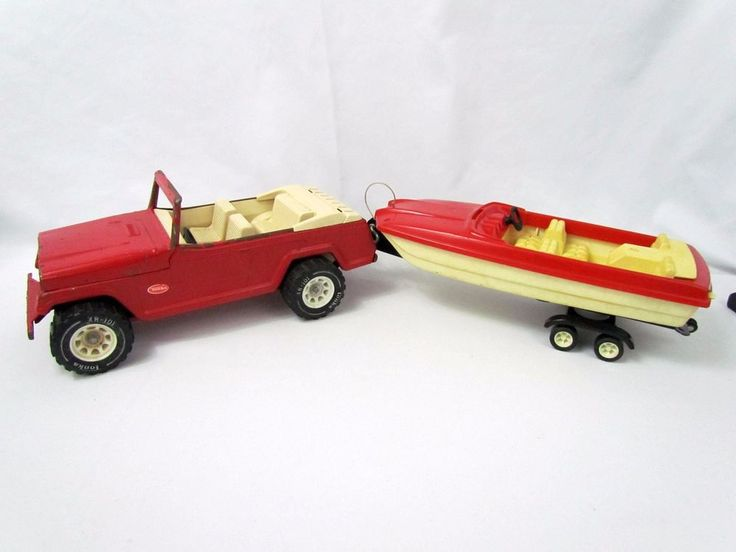 Vtg Red Tonka Steel Jeepster & Runabout Boat Carrier Trailer Jeep Vehicle 2460 #Tonka #Jeep