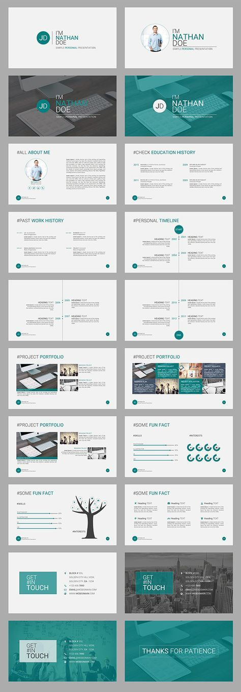 """""""JD - Personal (CV/Resume) Powerpoint Presentation Template"""" is a #Simple but #Amazing #Personal #Portfolio #PowerPoint #presentation #Template for any corporate or business person. Its a great way to brand yourself in front of the client or any other b…"""