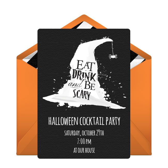 Customizable, free Eat Drink & Be Scary online invitations. Easy to personalize and send for a Halloween party. #punchbowl