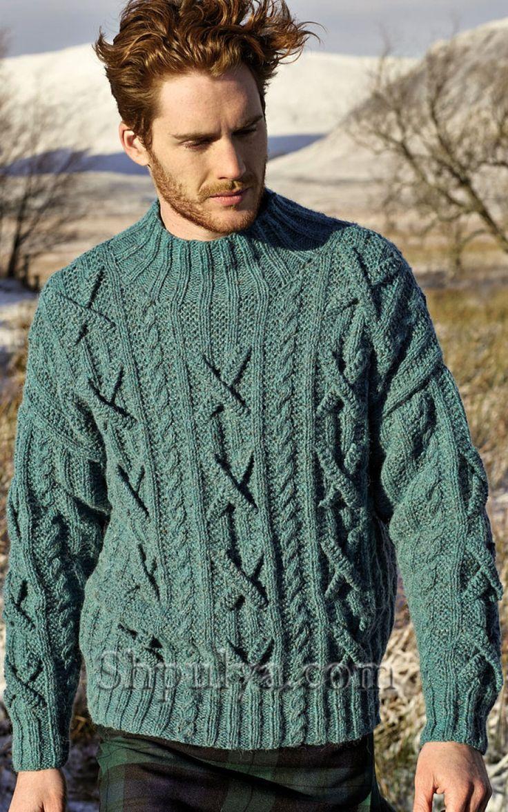 свитер мужской с орнаментом с капюшоном схема
