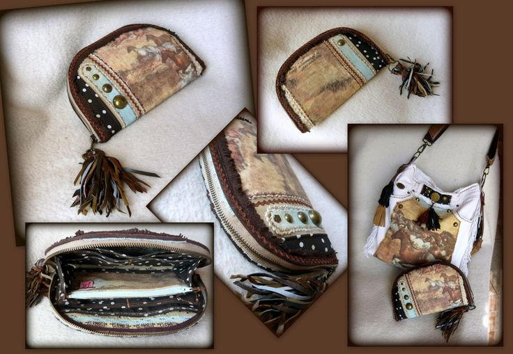 Handmade by Judy Majoros - Horse wallet-clutch with leather fringe. Recycled…