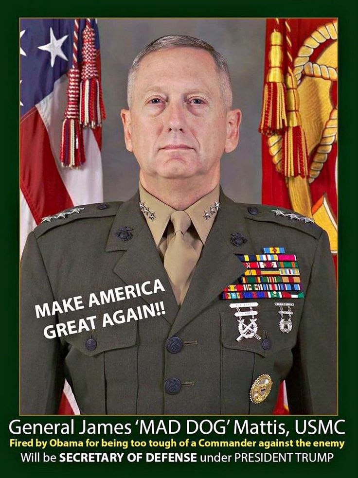 """Gen James """"MAD DOG"""" Mattis, USMC fired by Obama for being too tough on enemies! We're HONORED to have him! Clinton (@2ALAW) 