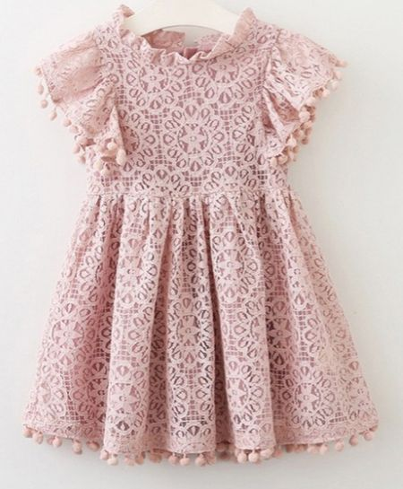 Pom pom lace dress pink