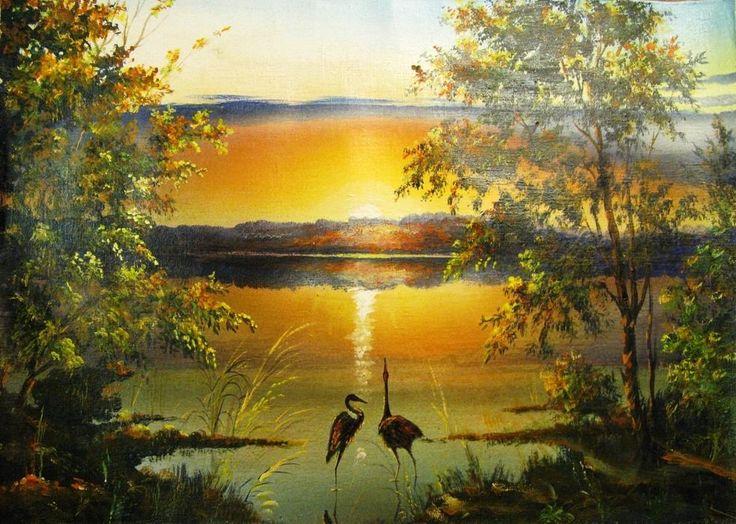 Пейзаж. Картина маслом.художник . Закат(пара)