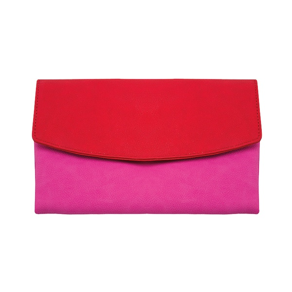 Ann Taylor faux leather clutch #clutch #redclutch #pinkclutch #Clutches #handbags #Polka Dots Boutique