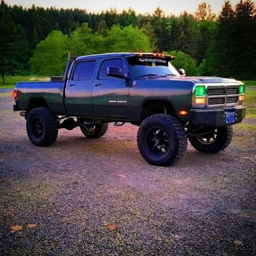 Fishin' in the dark nitty gritty kind of truck First Gen #Dodge   #Cummins  …