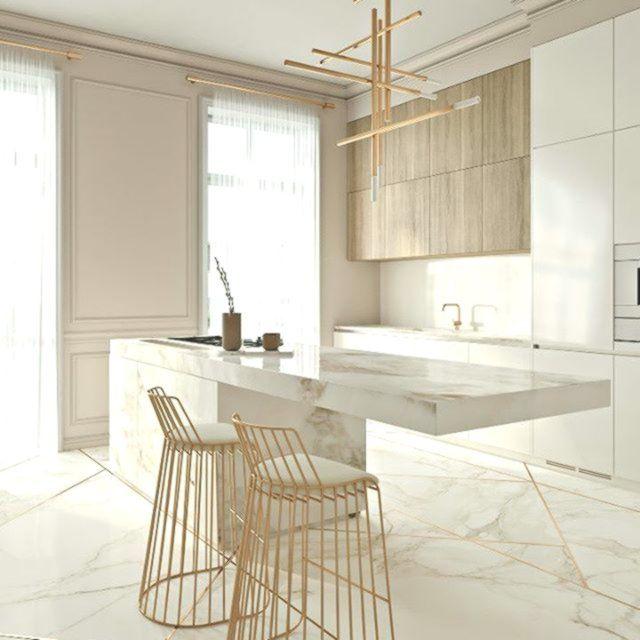 Erstaunliche Elegante Kuche Mit Goldnoten Kuche Marmor Boden Gold Li Boden Elegante Erstaunliche Gold Kuche Kuchendesign Moderne Kuchendesigns