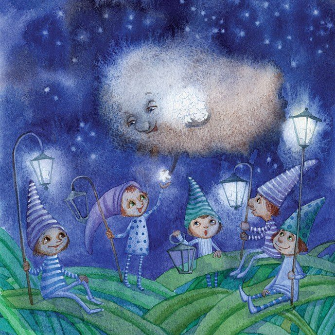 "Светлячки.   Для издательства ""Нигма""  #fairytail #watercolor #night #stars #nightforest #wind #art#artist #artinstagram #illustration #illustrationart #illustrate #sketch #Goncharov"