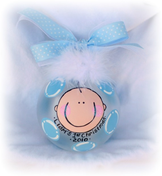 For Keegan: Personalized baby boy hand painted glass by Momyslittleartcorner, $19.99