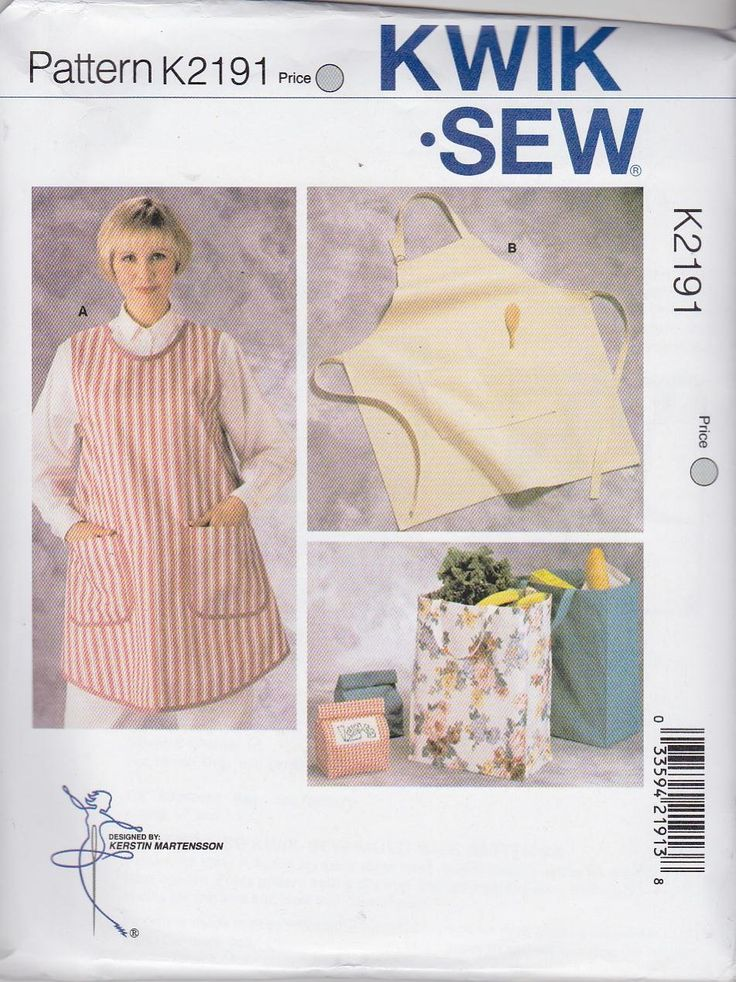 Kwik Sew Sewing Pattern 2191 Misses Mens Aprons Lunch Grocery ...