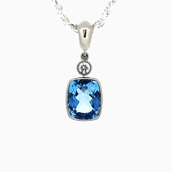 Lunette Necklace with Blue Topaz in White Gold