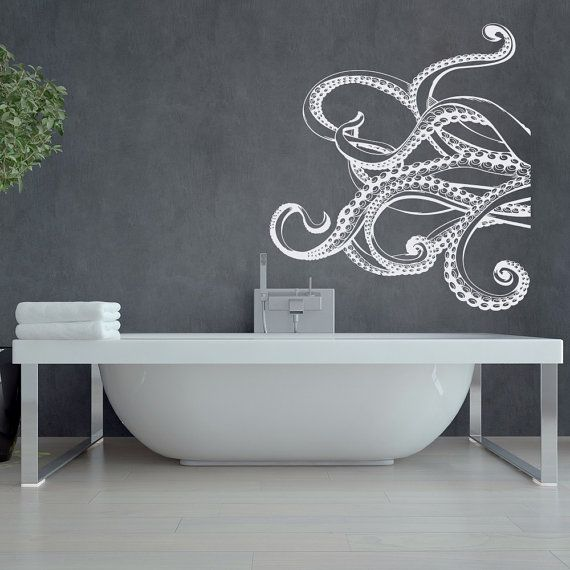 Large Kraken Octopus Tentacles Vinyl Wall Decal Nautical Wall