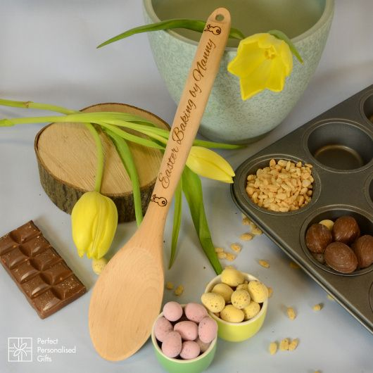 Easter Baking Spoon.  These beautiful wooden spoons make the perfect Easter gift for someone who loves to bake.  Each wooden spoon is individually engraved with cute bunnies at each end and then any name can be added to the message. You can if you would like change the message please just contact us.