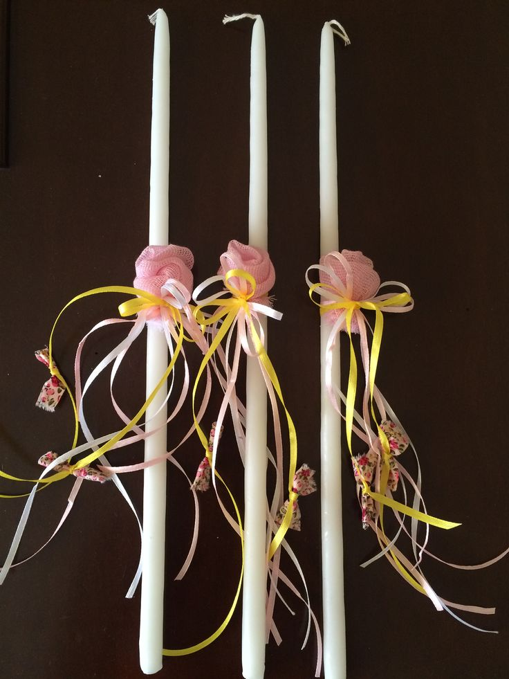 Small candles for christening decorated with pink flower, satin ribbons and floral fabric - Kεράκια κολυμπήθρας στολισμένα με λουλούδι από γάζα, σατέν κορδέλες και φλοράλ ύφασμα #christeningcandle #christening #handmadedecor #almanogr #κεράκια #βάφτιση
