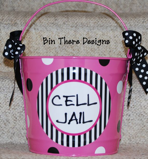 Making this for my high schoolers!!  Cell Jail Classroom Teacher Bucket Pail 10 by BinThereDesigns, $30.00