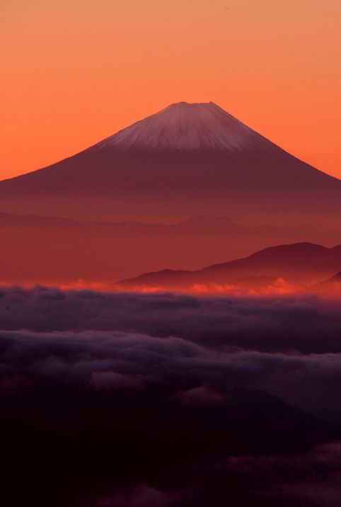 Good Morning Japan by Vic Shimamura (photography, photo, picture, image, beautiful, amazing, travel, world, places, nature, landscape, red, orange, pink, purple, sunset, mountain)