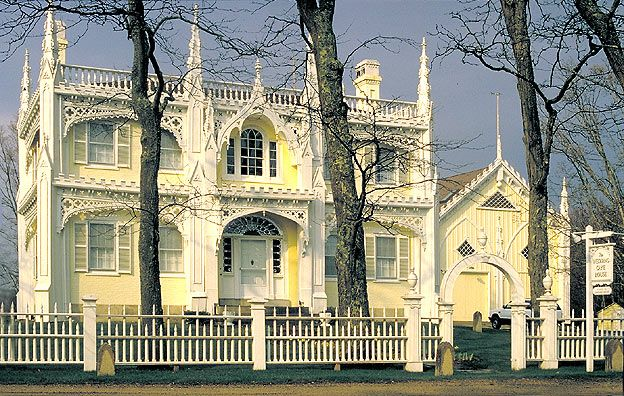 "The ""Wedding Cake House"" is a showpiece of Victorian gingerbread carving and is located in Kennebunk, Maine."