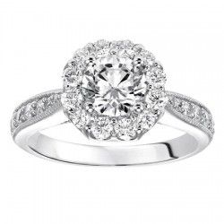#Wedding #Wednesday with #Capri #Jewelers #Arizona ~ www.caprijewelersaz.com  ♥ 14K White Gold Cathedral Halo Engagement Ring