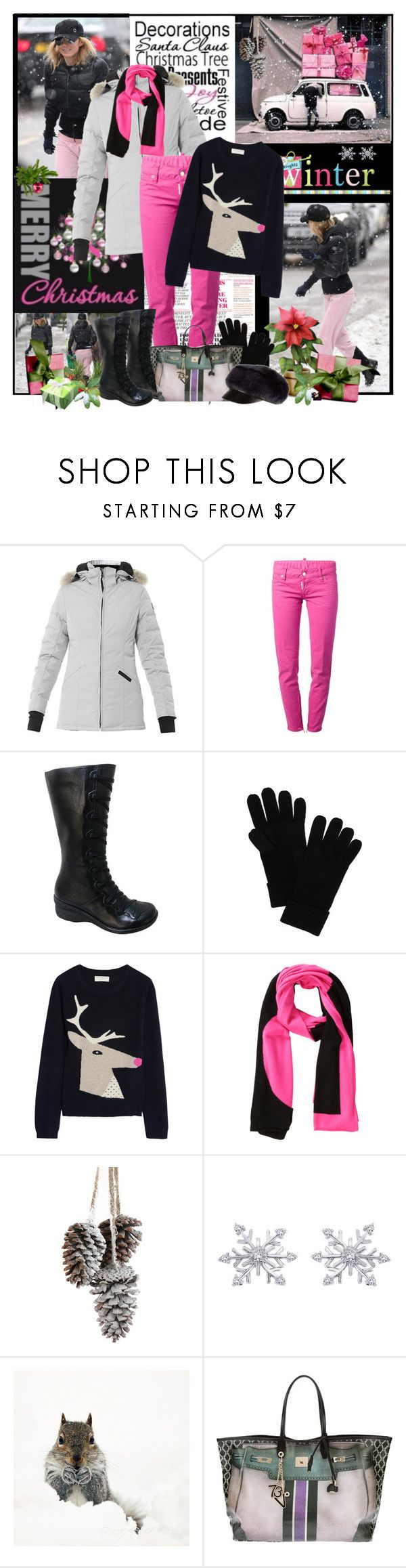 """""""Pink Christmas"""" by easystyle ❤ liked on Polyvore featuring Canada Goose, Dsquared2, Miz Mooz, rag & bone, Chinti and Parker, Lisa Perry, V°73, Eugenia Kim, Boots and jeans"""