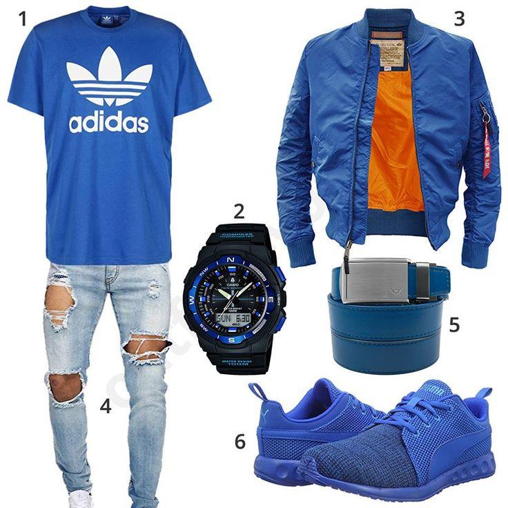Blaues Herren-Outfit mit Adidas Shirt, Alpha Industries Bomberjacke, destroyed Jeans, Ledergürtel, schwarz-blauer Casio Uhr und Puma Sneakern.