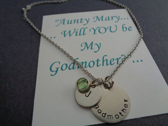 Godmother Christening Gift, Gift for Godmother, Godmother Monogram Jewelry necklace, Baptism Gifts for Godmother, Christening Gift