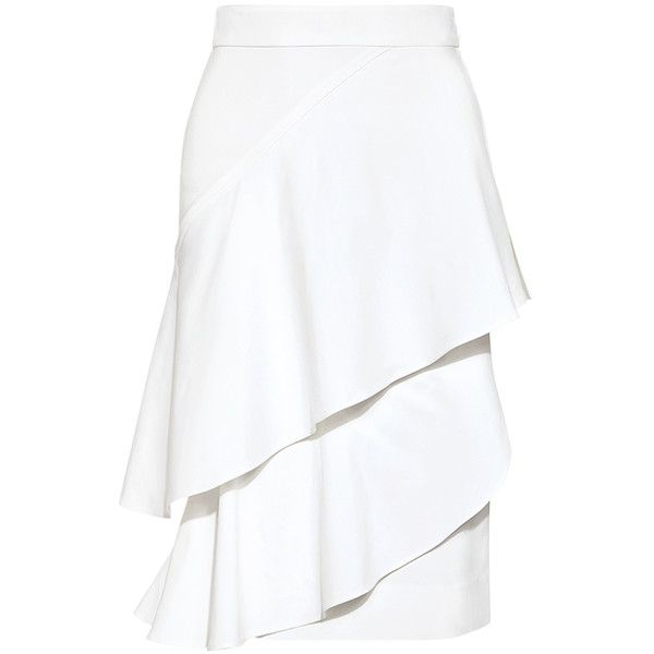 Marissa Webb - Dom Ruffled Pencil Skirt found on Polyvore featuring skirts, knee length pencil skirt, flounce skirt, wrap around skirt, ruffle skirt and tiered skirt